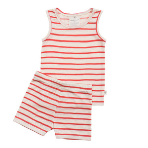 Chasing Windmills Short Johns Set - Vermilion Stripe