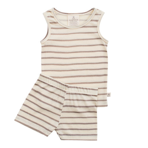 Chasing Windmills Short Johns Set -  Taupe Stripe