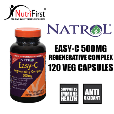 Natrol Easy-C Regenerating Complex 500mg with Bioflavonoids (120 Vegetarian Caps)