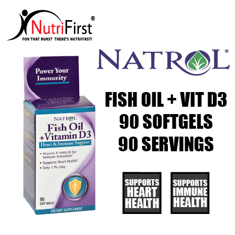 Natrol Fish Oil + Vitamin D3 (90 Softgels)