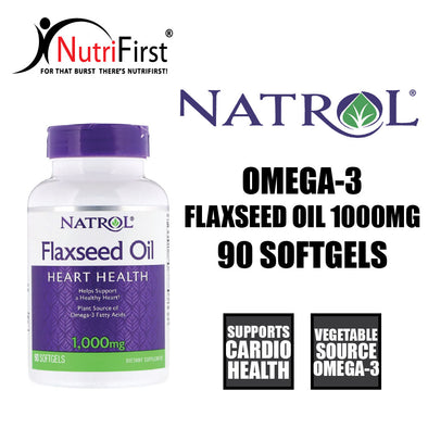 Natrol Omega-3 Flaxseed Oil 1000mg (90 Softgels)