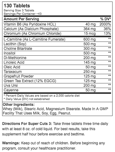 Universal Nutrition Super Cuts 3 (130 Tablets)