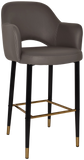 Albury Arm Stool 75cm Brass Detail Leg - Richmond Office Furniture