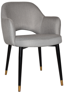 ALBURY ARM CHAIR BRASS TIP BLACK METAL LEG - Richmond Office Furniture
