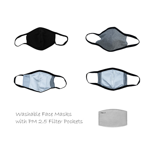 Washable Breathable Lightweight Comfortable Black Gray Grey Face Mask FaceMask Face Cover Covering Insert Inserts PM2.5 PM 2.5 Activated Carbon Charcoal Filter 5 Layer