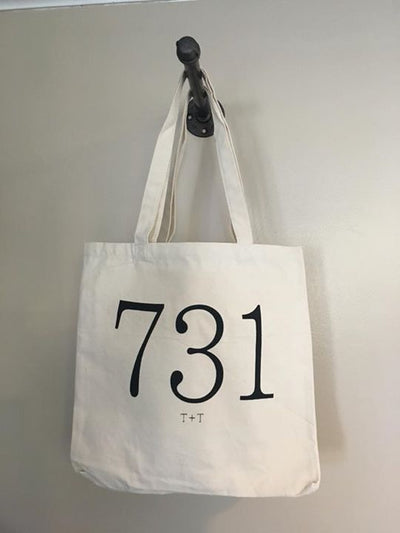 Natural Canvas Tote with Area Code (731) - TUCKED & THREADED