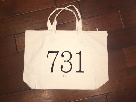 Area Code 731 Canvas Tote with Zipper - TUCKED & THREADED