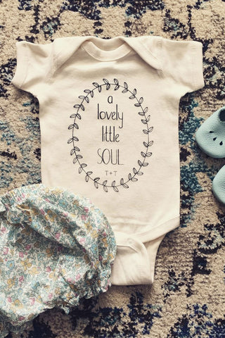 A Lovely Little Soul design on Ivory Onesie