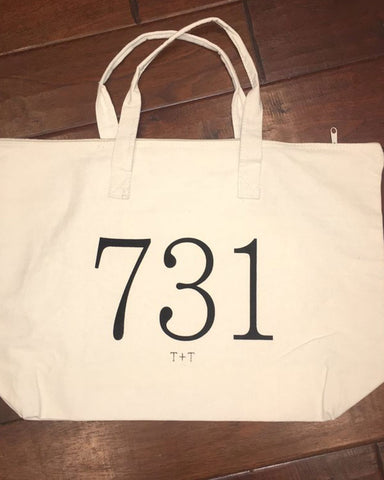 Area Code 731 Canvas Tote with Zipper