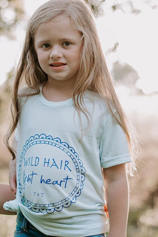 Wild Hair, Light Heart Ice Blue Child Tee