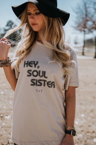 Hey, Soul Sister Tan Triblend Tee - TUCKED & THREADED