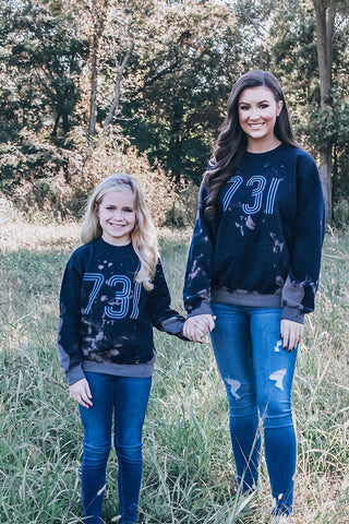 731 Navy Bleached Child Sweatshirt