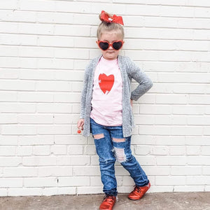 Distressed Heart Soft Pink Child Tee