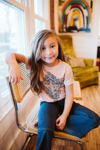 Aztec Cross Blush Child Tee