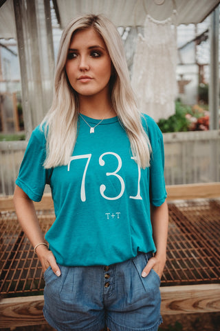 Area Code 731 Teal Triblend Tee