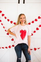 Distressed Heart Soft Pink Tee