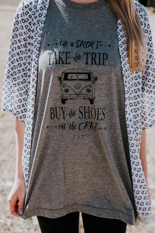 Life is Short Design on Grey Triblend Tee - TUCKED & THREADED
