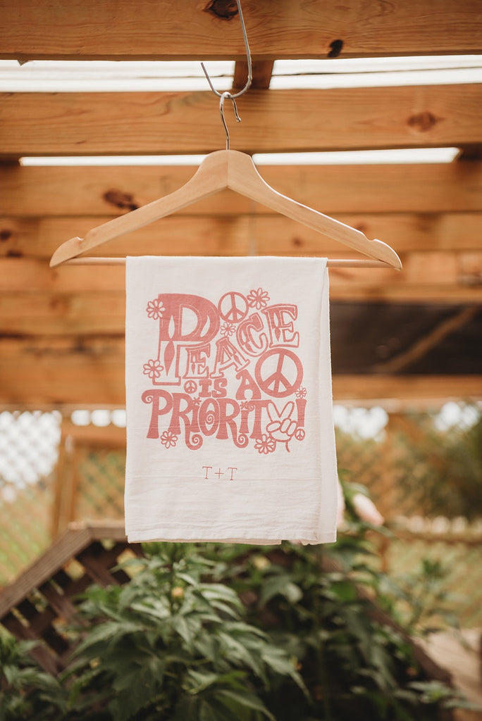 Peace is a Priority Flower Sack Tea Towel
