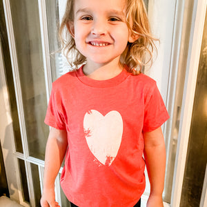 Distressed Heart Red Child Tee