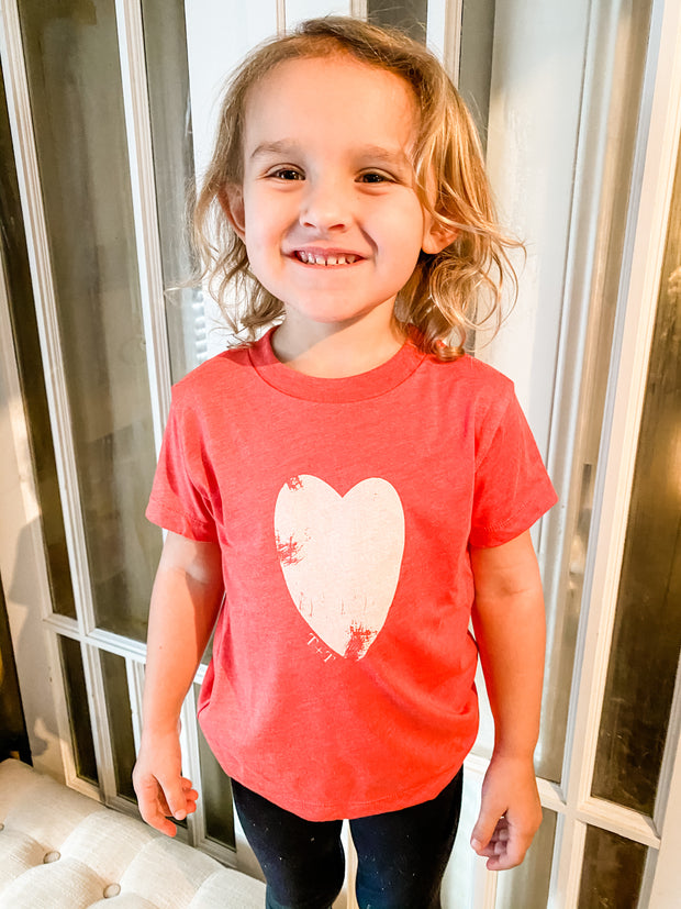 Distressed Heart Red Child Tee 1