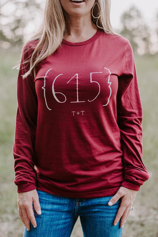 Area Code 615 Burgundy Triblend Long-Sleeve Tee