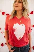 Distressed Heart Red V-Neck Tee