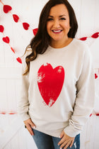 Distressed Heart Terry Bone Pullover