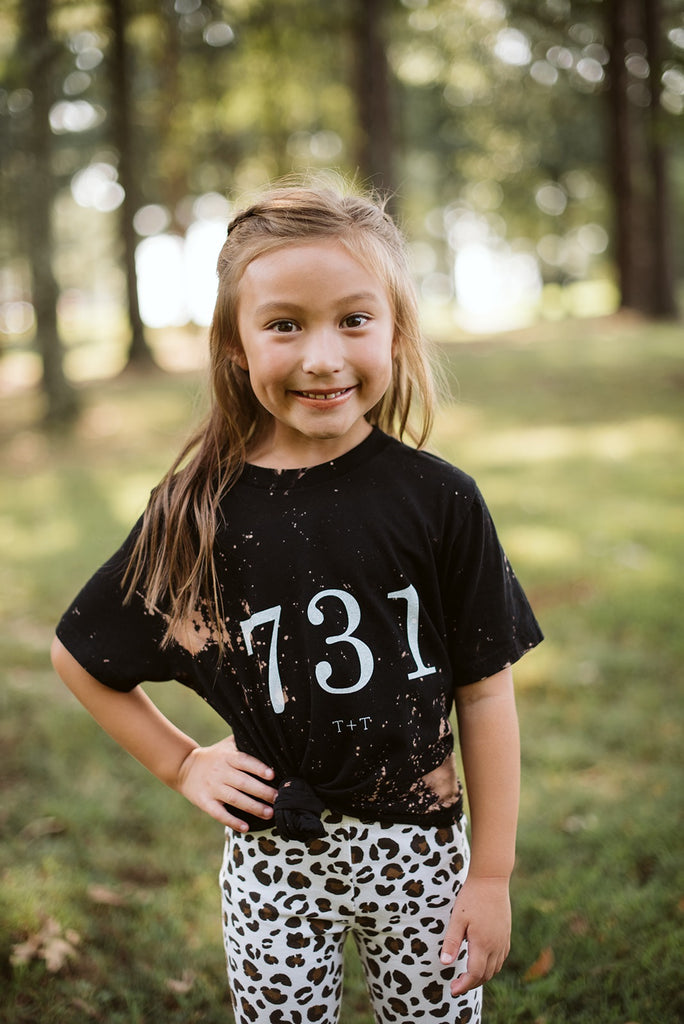 731 Black Bleached Tee for Children