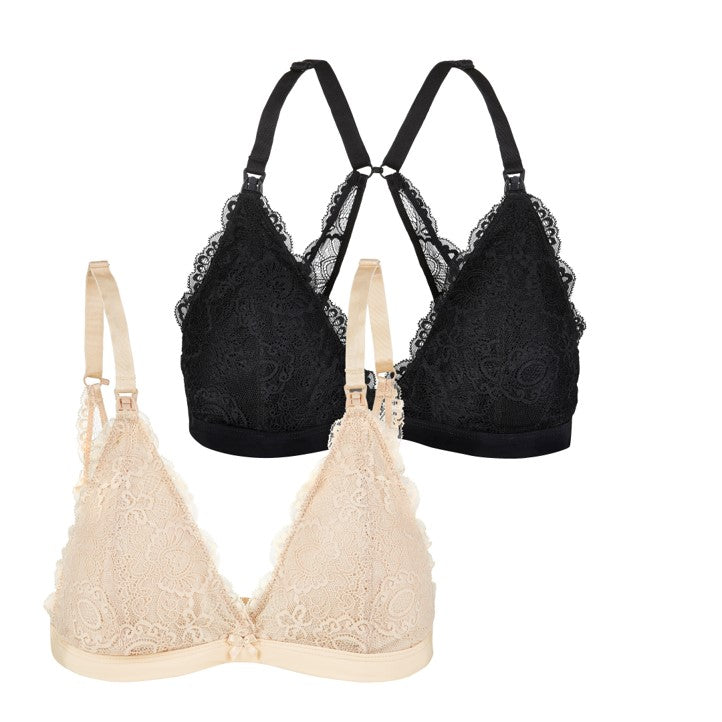 Nursing Bralette Nude and Black Bundle (2pk)