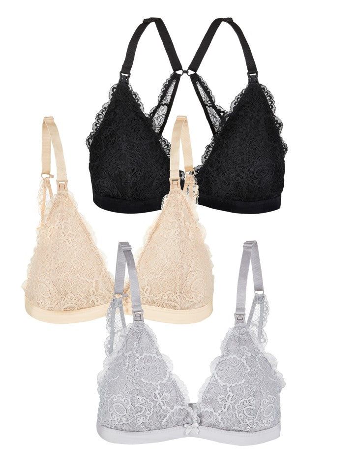 Nursing Bralette French Grey and Black and Nude Bundle (3pk)