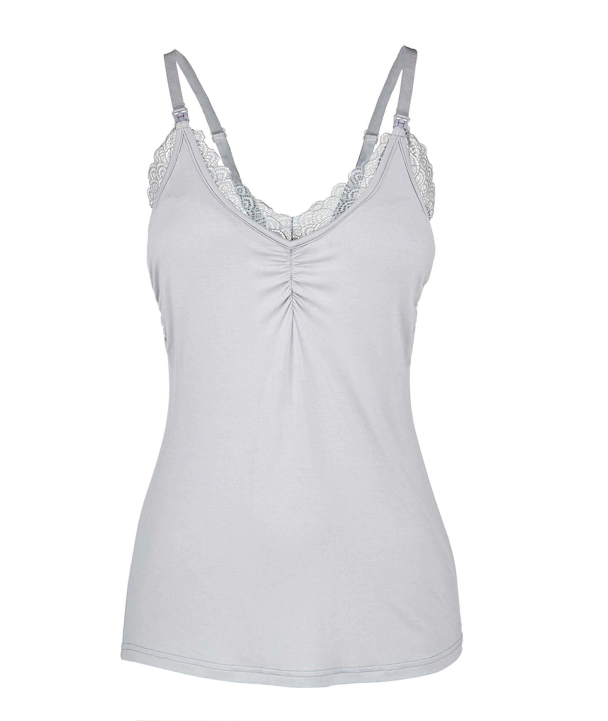 Glowing Grey Lace Nursing Camisole