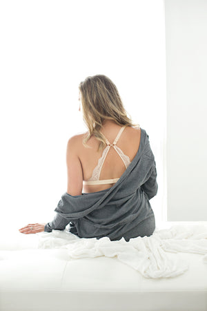 Nursing Bralette French Grey and Nude Bundle (2pk)