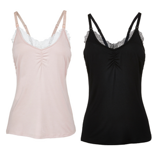 Lace Nursing Camisole 2pk Bundle (Rose-Black)