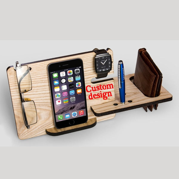 Personalized Docking Station Wooden Phone Stand Desk