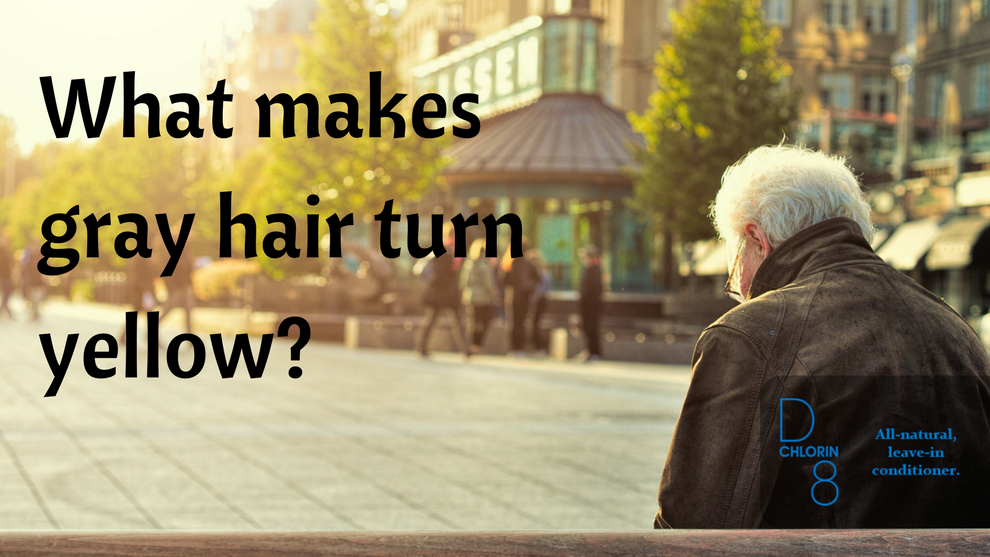 What makes gray hair turn yellow?