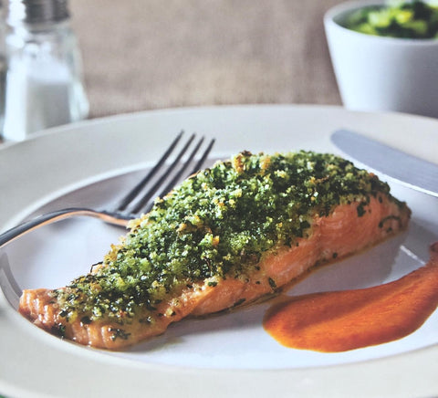 Herb-Crusted Salmon with Roasted Red Capsicum Coulis