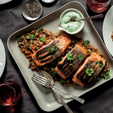 Salmon on a Duet of Barley & Lentils