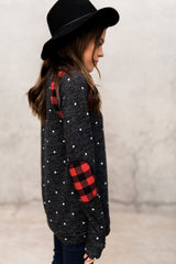 BRAELYN BUFFALO CHECK POLKA DOT TOP