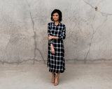 BLACK MAD ABOUT PLAID POCKET DRESS/TUNIC
