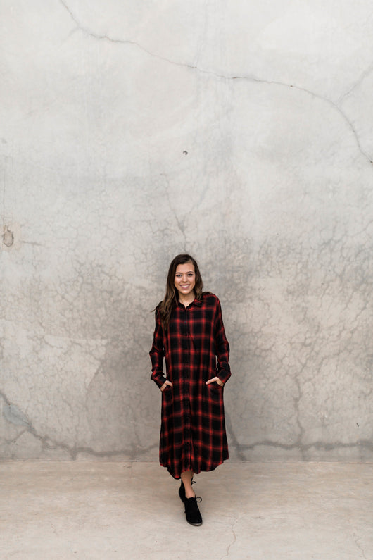 RED MAD ABOUT PLAID POCKET DRESS/TUNIC
