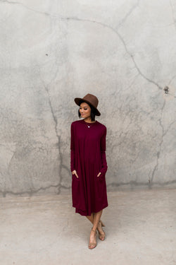 RAYNA POCKET SWING DRESS-WINE