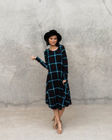 RAYNA POCKET SWING DRESS-BLACK PLAID
