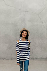 LUCI STRIPED ELBOW TOP-NAVY BLUE