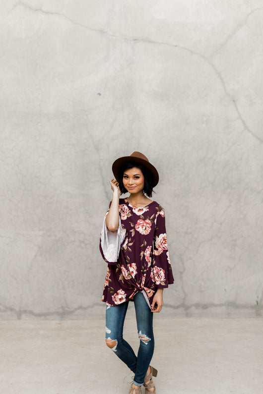 BETHANY FLORAL BELL SLEEVE KNOT TOP