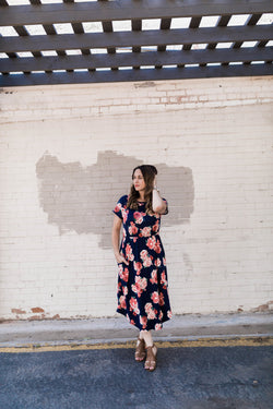 FELICITY FLORAL POCKET DRESS-NAVY