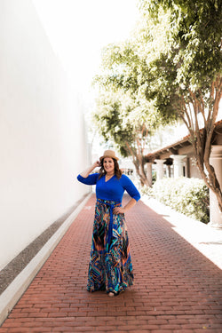 CASEY COBALT BLUE PRINTED MAXI DRESS