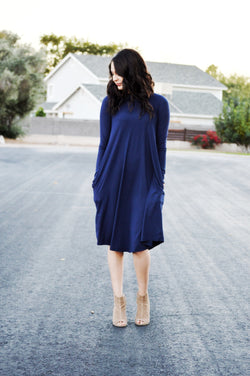 RAYNA POCKET SWING DRESS-NAVY