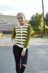 GRADE RULE CARDIGAN-OLIVE GREEN