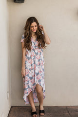 CHARLOTTE FLORAL HIGH LOW WRAP DRESS-BLUSH