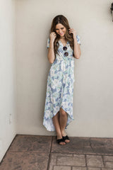 CHARLOTTE FLORAL HIGH LOW WRAP DRESS-BLUE GREEN